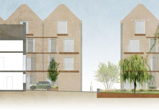Davis Landscape Architecture Leatherhead Road Chessington Kingston London Render Section Residential Landscape Architect Courtyard 1