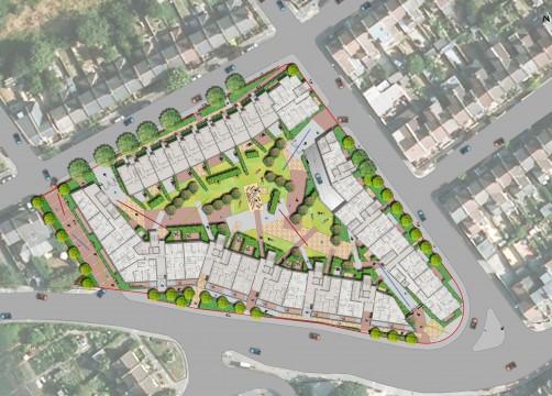 Davis Landscape Architects Ruckholt Road London Residential Landscape Architect Rendered Masterplan
