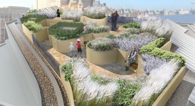 Davis Landscape Architects Wapping London Residential Roof Garden Landscape Design Architect Rendered Visulisation Day