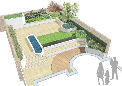 Davis Landscape Architects Belsize Park London Residential Landscape Architect Rendered Visualisation