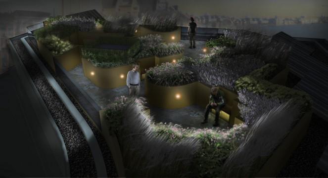 Davis Landscape Architects Wapping London Residential Roof Garden Landscape Design Architect Rendered Visulisation Night