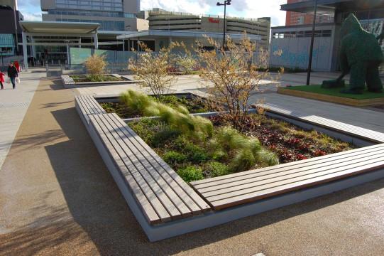 Davis Landscape Architects East Village Marketing Suite London Public Realm Landscape Architect Complete Image Seating and Planter