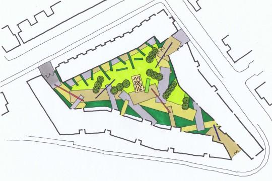 Davis Landscape Architects Ruckholt Road London Residential Landscape Architect Hand Sketch Concept Plan