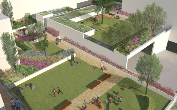 Davis Landscape Architects The Oaks, Acton London Mixed Use Landscape Architect Visualisation Podium Deck Roof Garden Planning