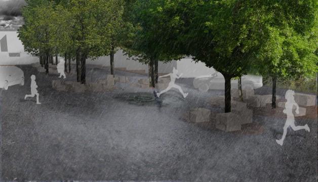 Davis Landscape Architects Star Lane Ph 1 Great Wakering Home Zone Residential Landscape Design Architect Rendered Visualisation flooding Puddle Wet