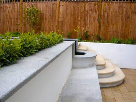 Davis Landscape Architecture Belsize Park London Residential Landscape Architect Seat Water Feature Steps