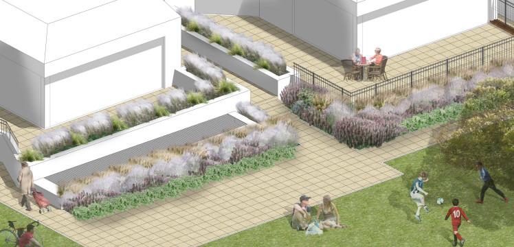 Davis Landscape Architecture Totteridge Lane London Residential Landscape Architect Design Rendered Perspective