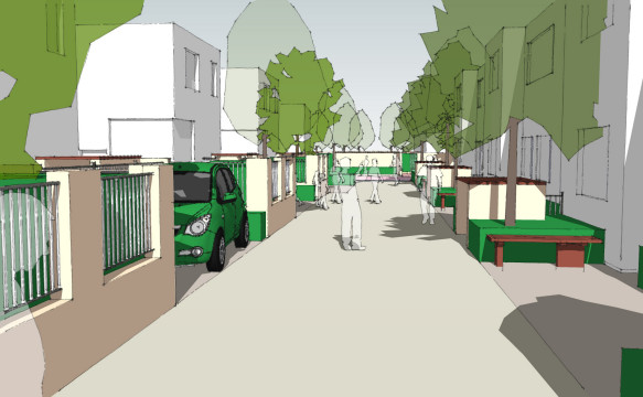 Davis Landscape Architecture Albyns Close London Residential Sketch Landscape Design Architect Home Zone Visulaisation