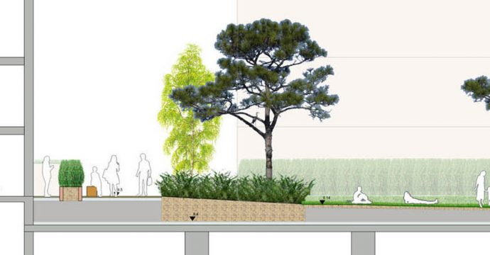 Davis Landscape Architecture Marine Plaza Southend on Sea Mixed Use Landscape Architect Rendered Section A