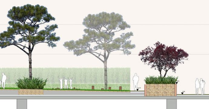 Davis Landscape Architecture Marine Plaza Southend on Sea Mixed Use Landscape Architect Rendered Section B