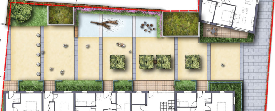 Davis Landscape Architecture Watts Grove London Residential Landscape Architect Rendered Plan Play Planning A
