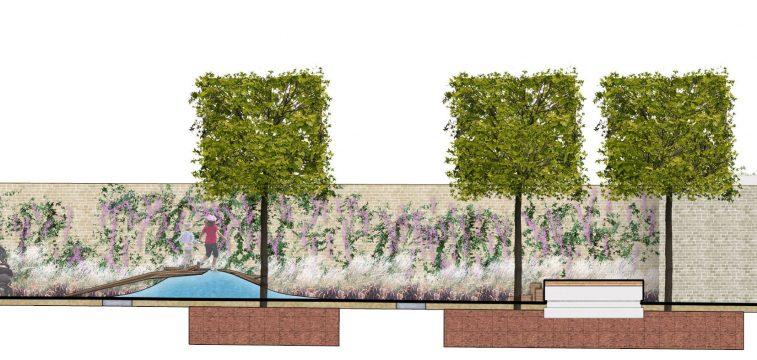 Davis Landscape Architecture Watts Grove London Residential Landscape Rendered Section Planning 2