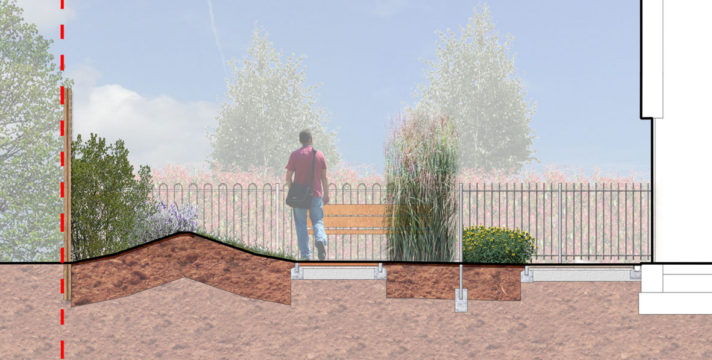 Davis Landscape Architecture Mill Farm Richmond Upon Thames London Residential Landscape Architect Design Rendered Section