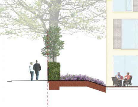 Davis Landscape Architecture Knowles House Brent London Residential Rendered Section 2a Landscape Design Detail Planning