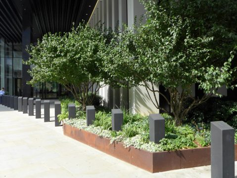 Davis Landscape Architecture London Wall Place Public Realm Landscape Architect Design Corten Steel Planter Construction Complete 5