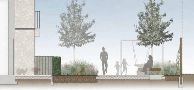 Davis Landscape Architecture London Road Wembley Brent London Render Section Residential Landscape Architect Design 2