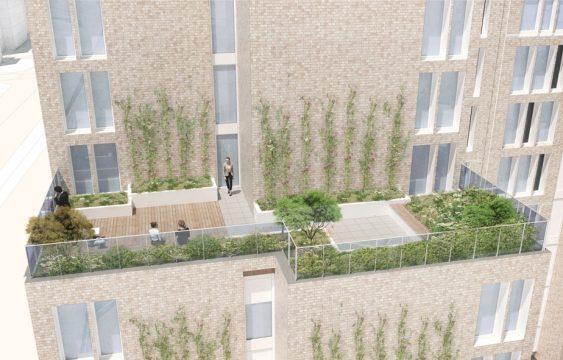 Davis Landscape Architecture New Kent Road Southwark London Render Visualisation Residential Hotel Landscape Architect Roof Garden Design Planning