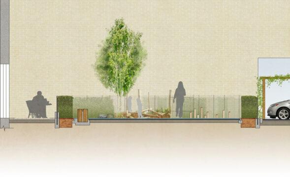 Davis Landscape Architecture Westmead Road Carshalton Sutton London Rendered section Residential Landscape Architect Design 1a