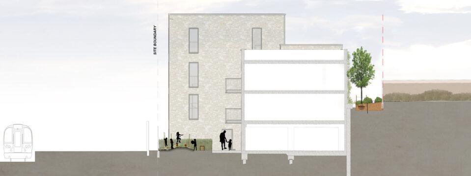 Davis Landscape Architecture Station Lane Hornchurch Havering London Residential Landscape Architect Design Rendered Section Planning